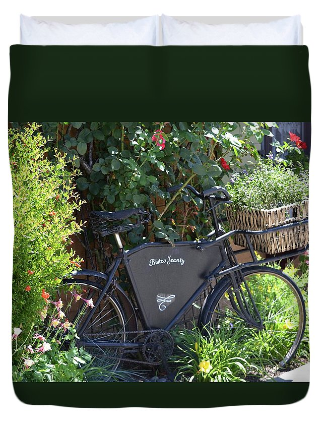 French Duvet Cover featuring the photograph Bistro Jeanty by Laura Leigh McCall