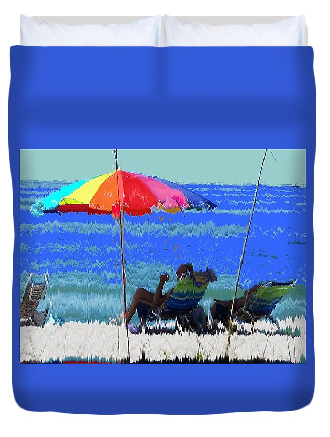 Venice Duvet Cover featuring the photograph Bit Of Shade On The Beach by Ian MacDonald