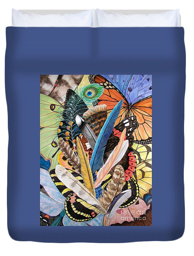 Feathers Duvet Cover featuring the painting Bits Of Flight by Lucy Arnold