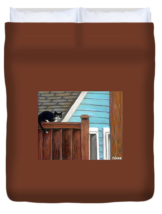 Cat Duvet Cover featuring the painting Black Alley Cat by Minaz Jantz