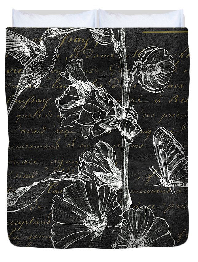 Hummingbird Duvet Cover featuring the painting Black And Gold Hummingbirds 2 by Debbie DeWitt