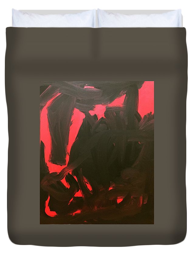 Duvet Cover featuring the painting Black And Red by Nicole Saenz