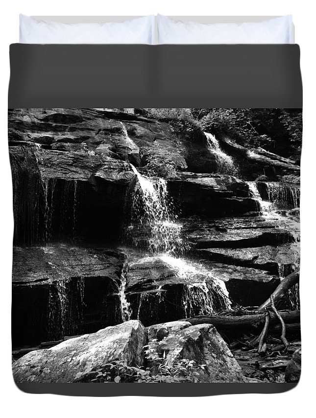 Waterfall Duvet Cover featuring the photograph Black And Water by Hannah Tanner
