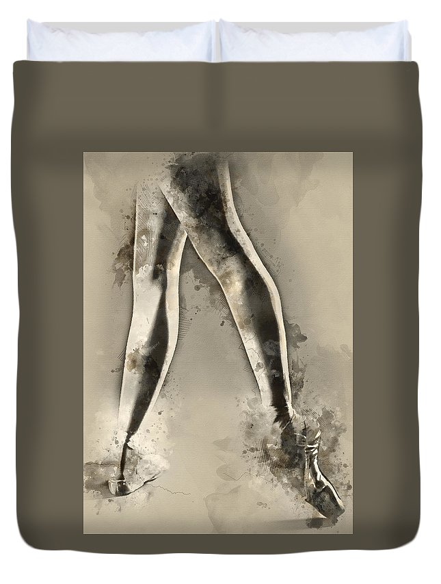 Ballerina Duvet Cover featuring the painting Black And White Ballerina Poster 8 - By Diana Van by Diana Van