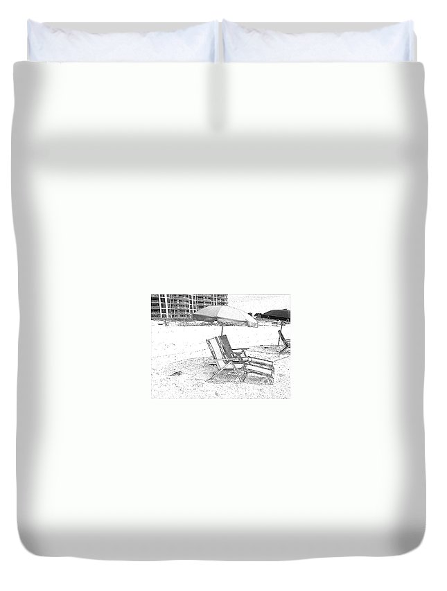 Black And White Duvet Cover featuring the photograph Black And White Beach Chairs by Michelle Powell