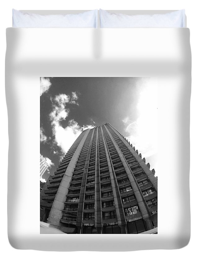 The Barbican Duvet Cover featuring the photograph Black And White Brutalist Barbican by Steve Swindells