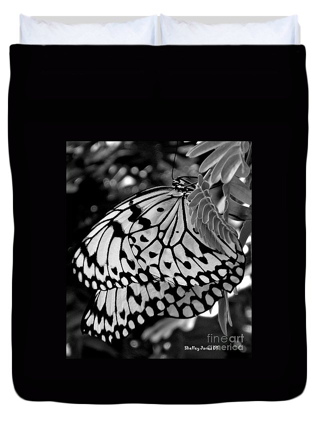 Photograph Duvet Cover featuring the photograph Black And White Butterfly by Shelley Jones