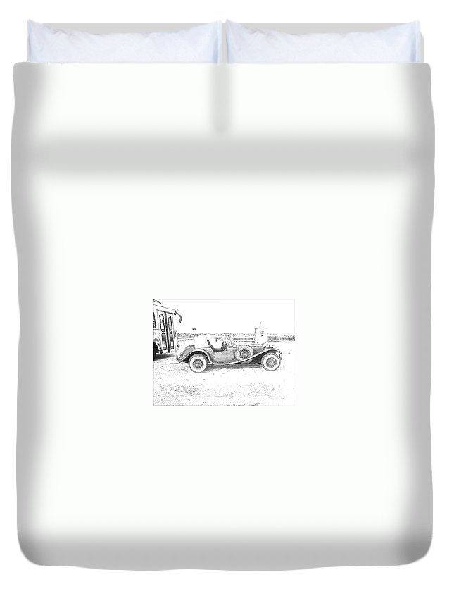 Black And White Car Duvet Cover featuring the photograph Black And White Car by Michelle Powell