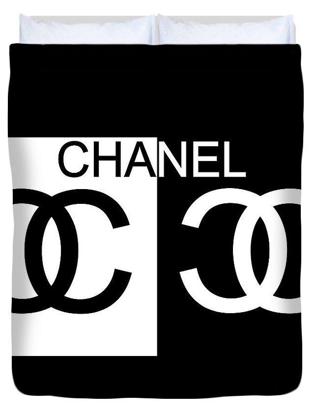 e83abbfff81 Black And White Chanel Duvet Cover featuring the mixed media Black And White  Chanel by Dan