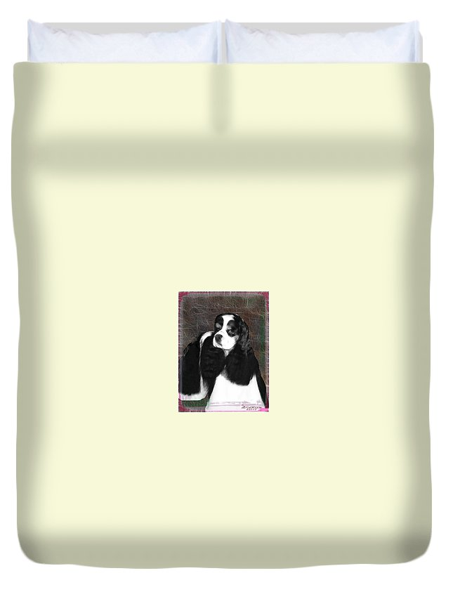 Dog Duvet Cover featuring the photograph Black And White Cookie by Ericamaxine Price