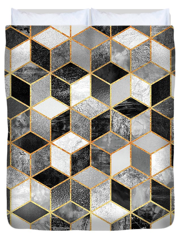 Graphic Design Duvet Cover featuring the digital art Black and White Cubes by Elisabeth Fredriksson
