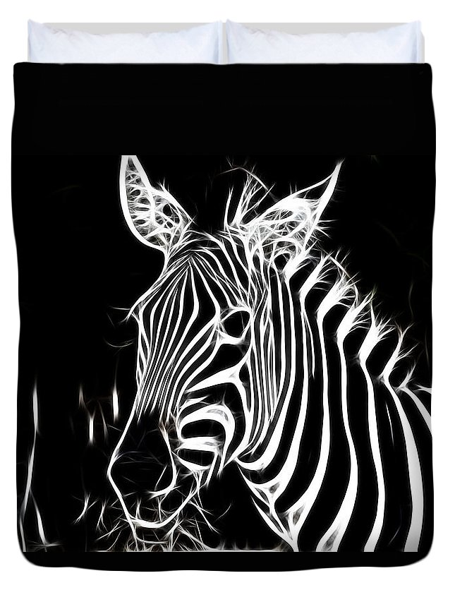 Zebra Duvet Cover featuring the photograph Black And White by Douglas Barnard