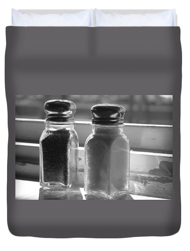 Salt Duvet Cover featuring the photograph Black And White by Lauri Novak
