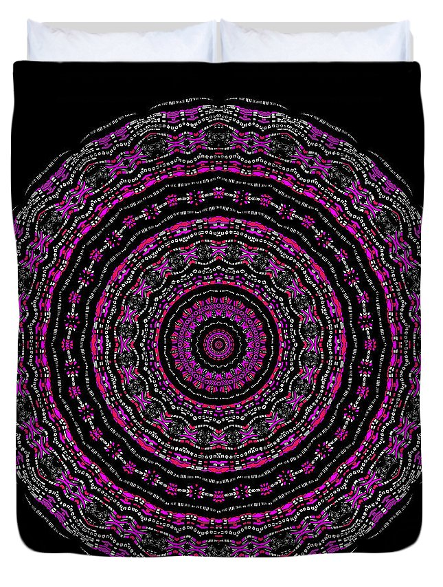 Digital Duvet Cover featuring the digital art Black And White Mandala No. 3 In Color by Joy McKenzie