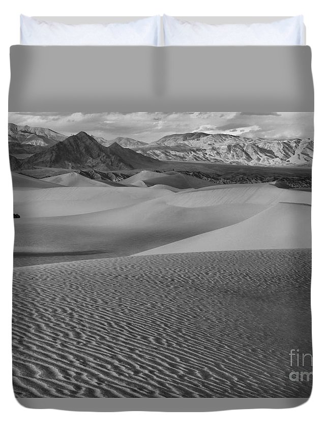 Black And White Duvet Cover featuring the photograph Black And White Mesquite Sand Dunes by Adam Jewell