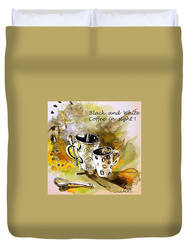 Cafe Crem Duvet Cover featuring the painting Black And White by Miki De Goodaboom