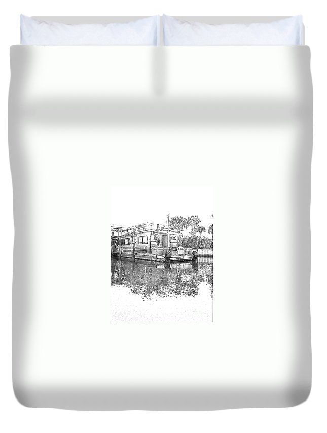 Black And White Duvet Cover featuring the photograph Black And White Party Boat by Michelle Powell