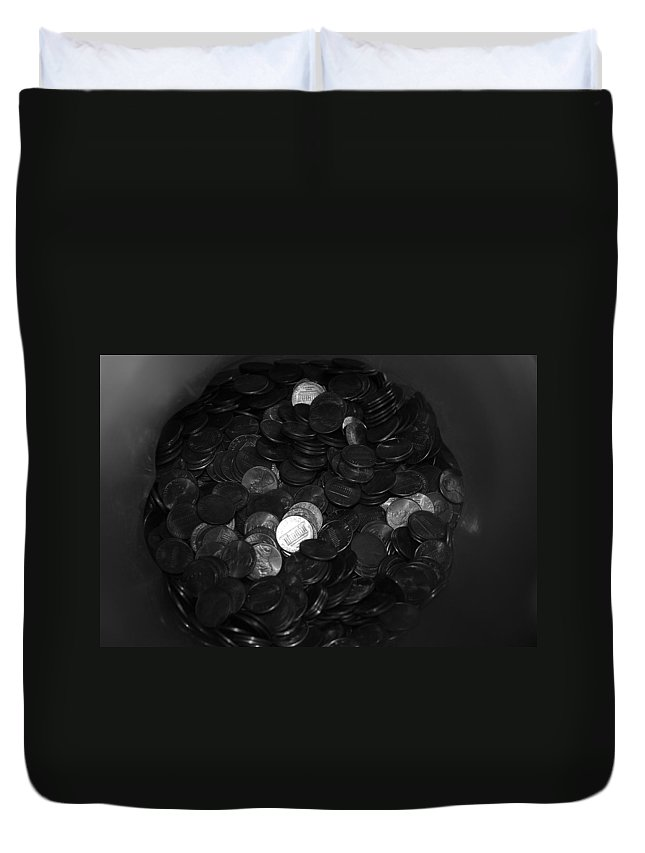 Abstract Duvet Cover featuring the photograph Black And White Pennies by Rob Hans