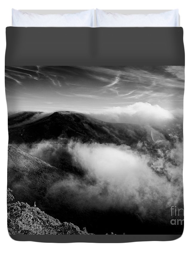 Marin Duvet Cover featuring the photograph Black And White Photograph Of Fog Rising In The Marin Headlands - Sausalito Marin County California by Silvio Ligutti