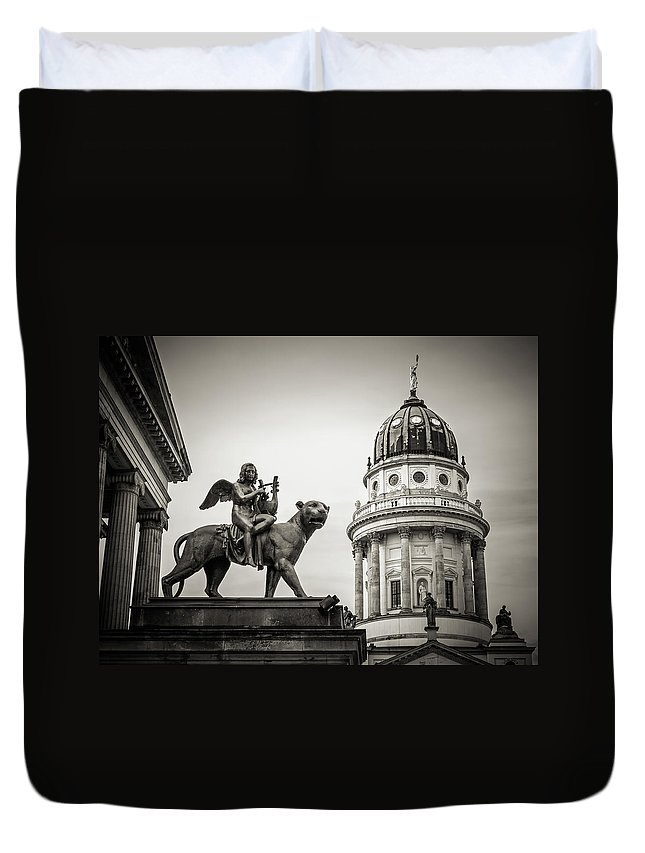 Berlin Duvet Cover featuring the photograph Black And White Photography - Berlin - Gendarmenmarkt Square by Alexander Voss
