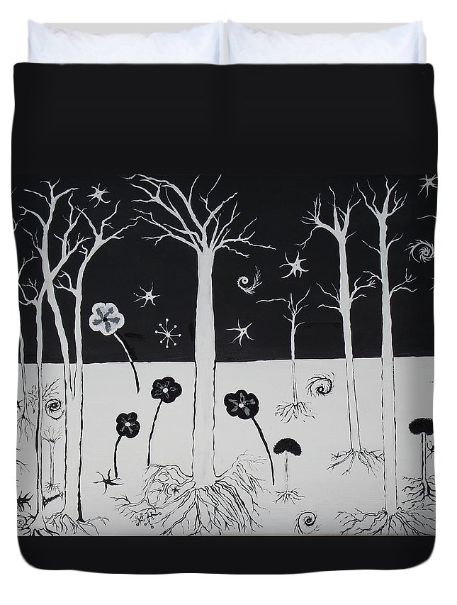Poppies Duvet Cover featuring the painting Black And White Poppies by Daniel Nadeau