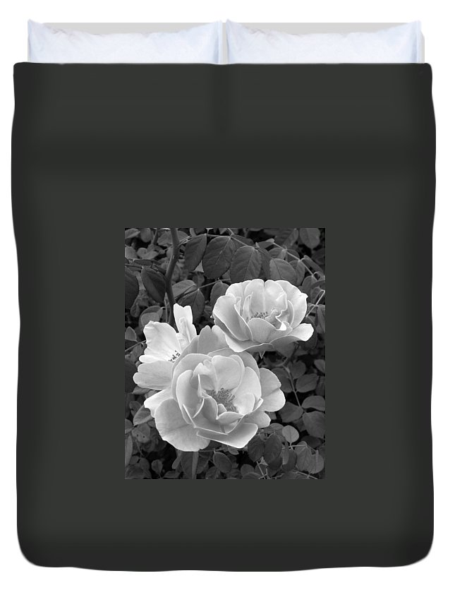 Rose Duvet Cover featuring the photograph Black And White Roses 1 by Amy Fose