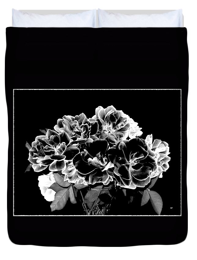 Roses Duvet Cover featuring the digital art Black And White Roses by Will Borden