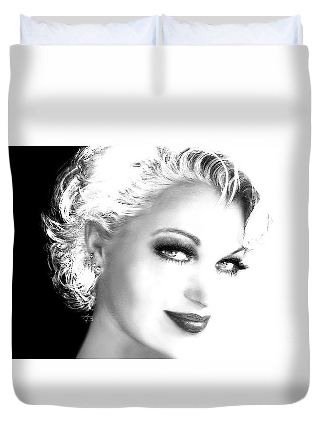 Face Duvet Cover featuring the painting Black And White Smile by Angie Braun