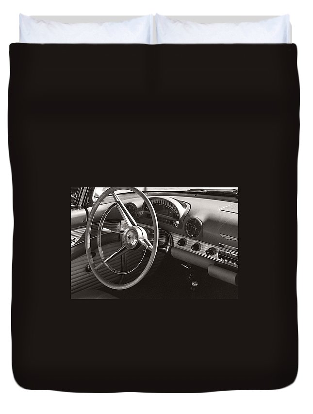 Black Duvet Cover featuring the photograph Black And White Thunderbird Steering Wheel And Dash by Heather Kirk