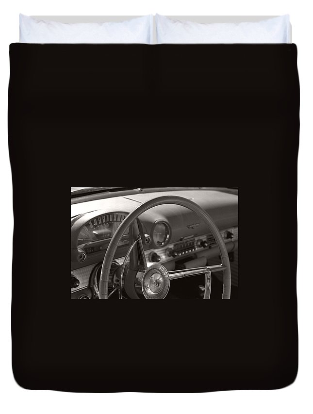 Black And White Photography Duvet Cover featuring the photograph Black And White Thunderbird Steering Wheel by Heather Kirk