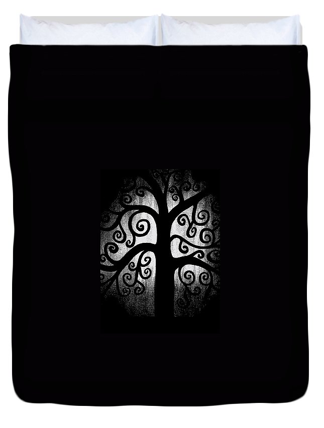 Black And White Duvet Cover featuring the painting Black And White Tree by Angelina Vick