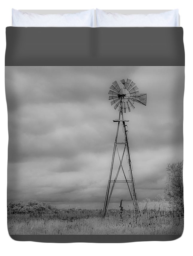 Cole Duvet Cover featuring the photograph Black And White Windmill by Larry Pacey