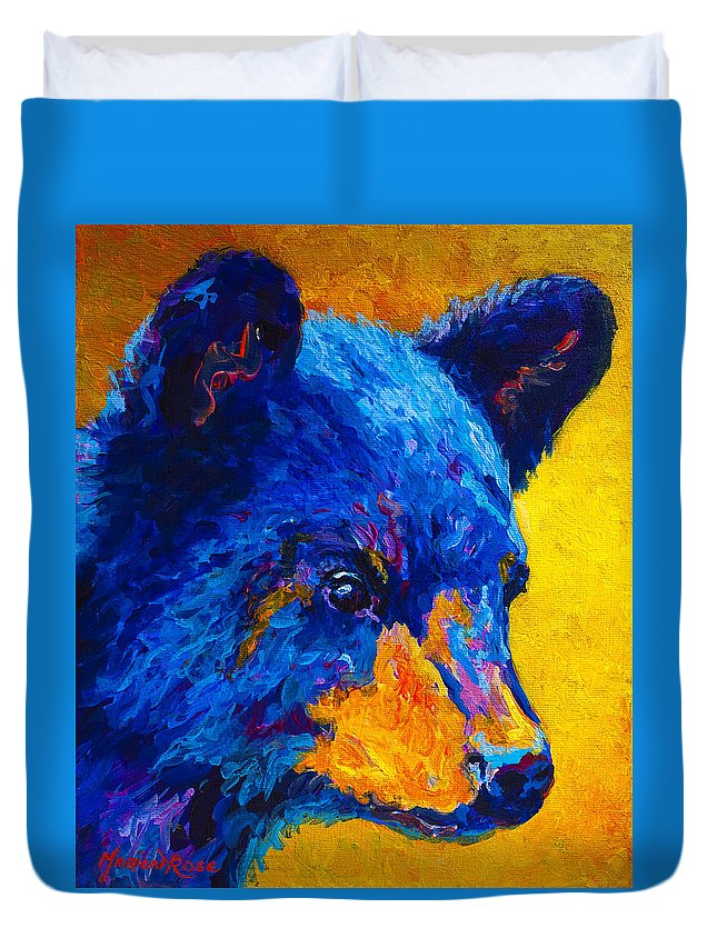 Bear Duvet Cover featuring the painting Black Bear Cub 2 by Marion Rose