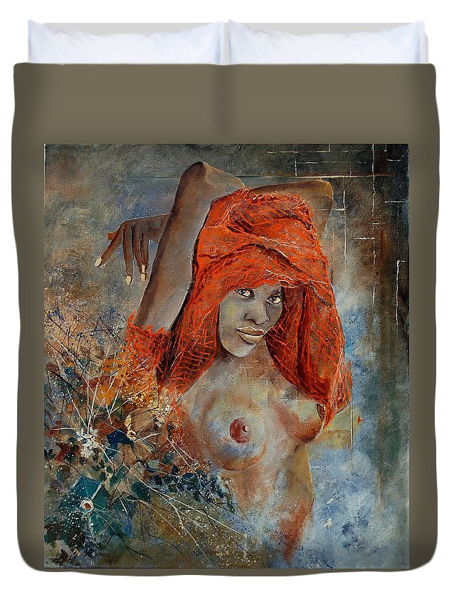 Nude Duvet Cover featuring the painting Black Beauty by Pol Ledent