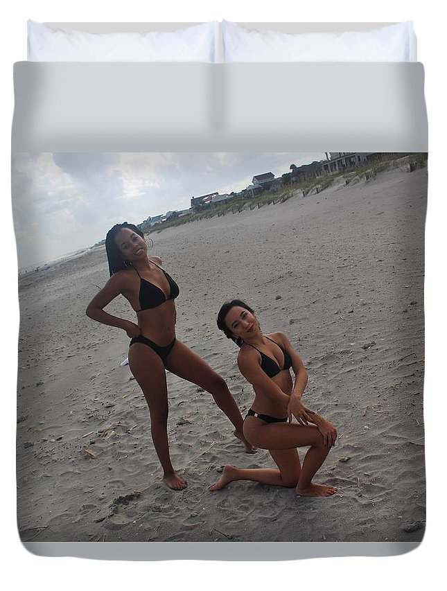 Ebony Duvet Cover featuring the photograph Black Bikinis 15 by Christopher White