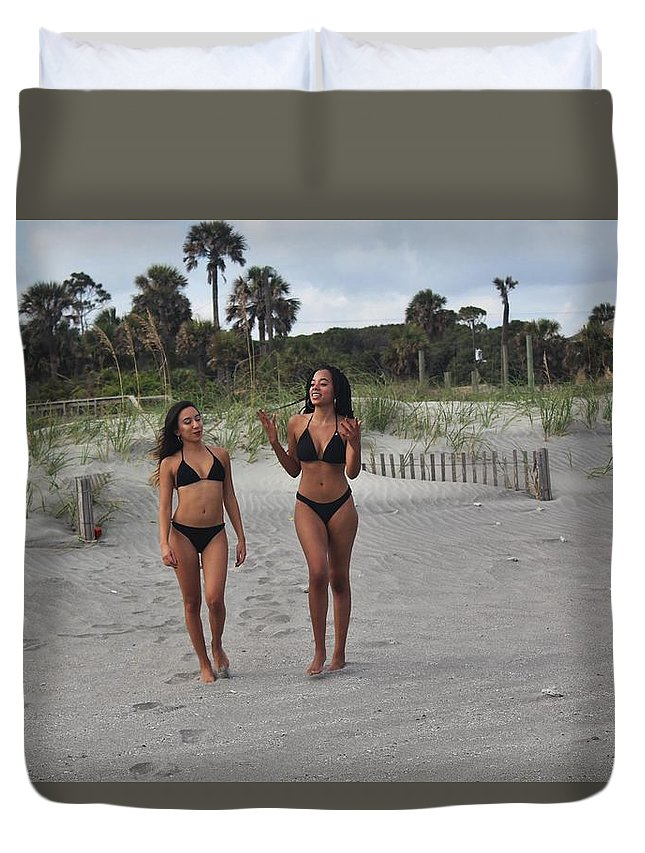 Ebony Duvet Cover featuring the photograph Black Bikinis 29 by Christopher White