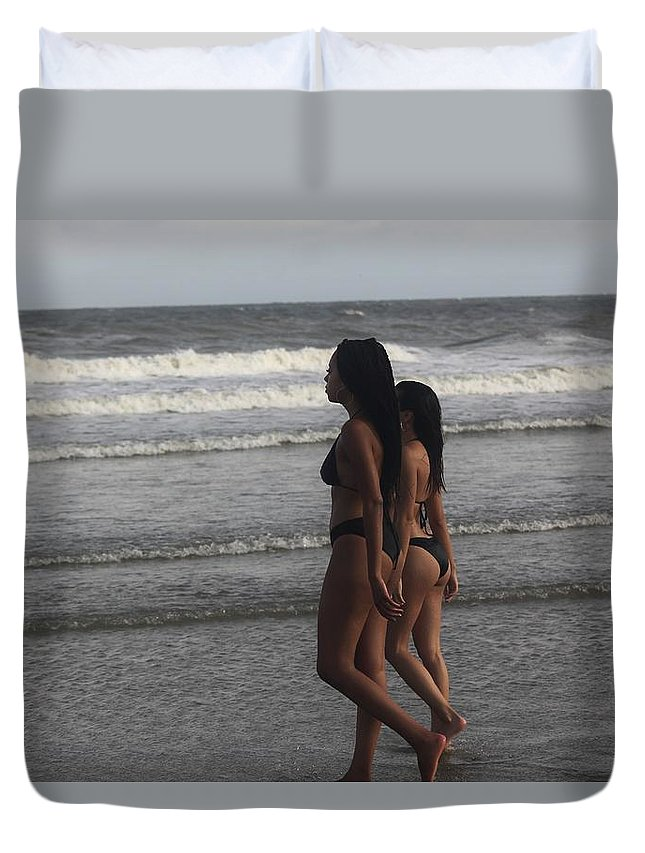 Ebony Duvet Cover featuring the photograph Black Bikinis 43 by Christopher White