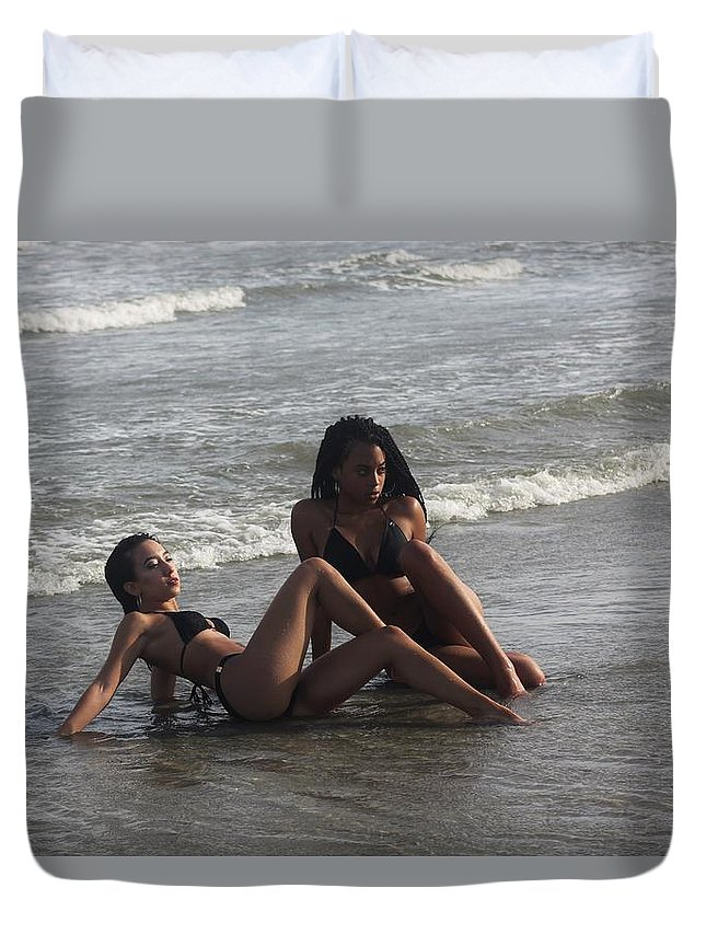 Ebony Duvet Cover featuring the photograph Black Bikinis 48 by Christopher White