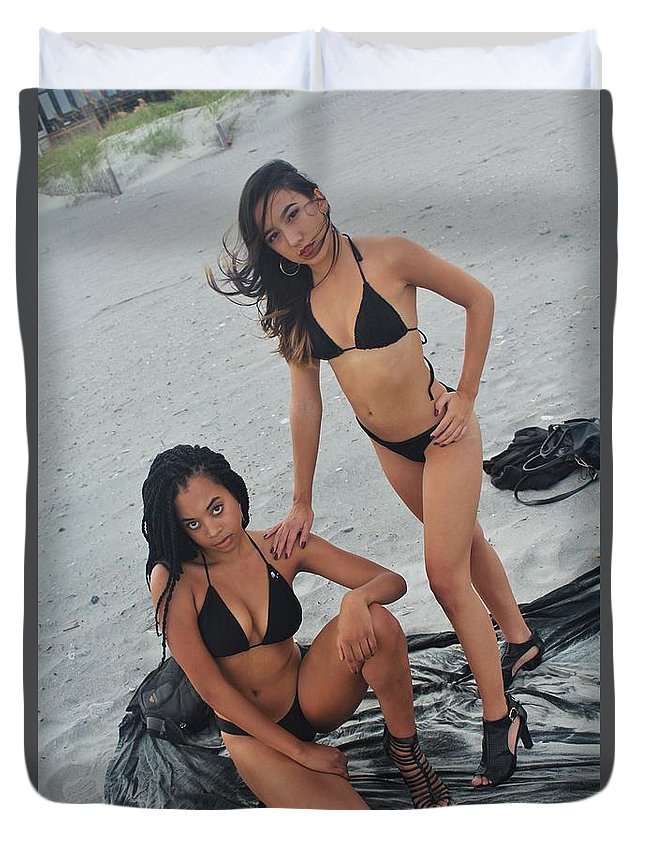Ebony Duvet Cover featuring the photograph Black Bikinis 5 by Christopher White