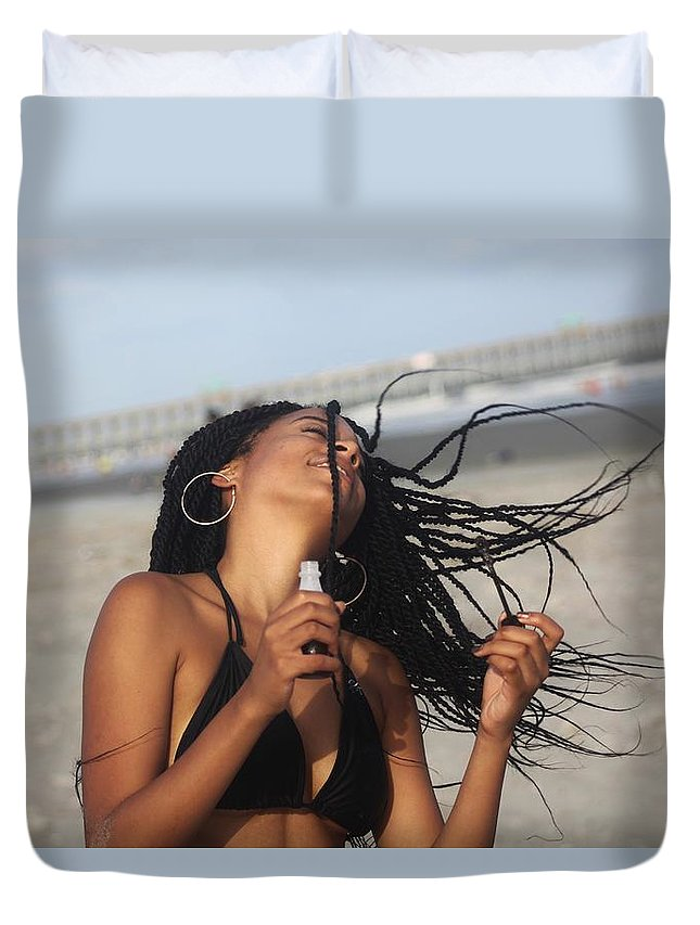 Ebony Duvet Cover featuring the photograph Black Bikinis 54 by Christopher White