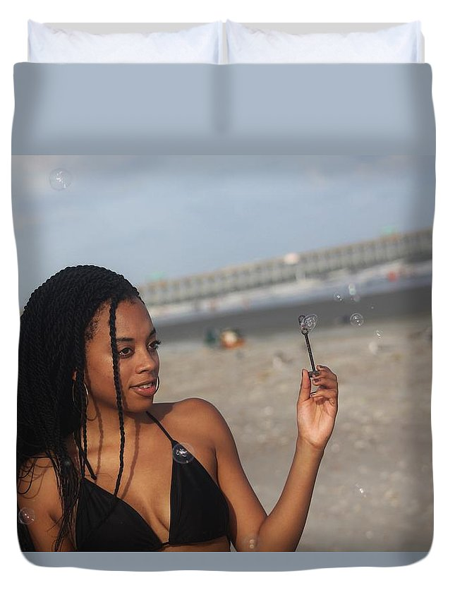 Ebony Duvet Cover featuring the photograph Black Bikinis 56 by Christopher White