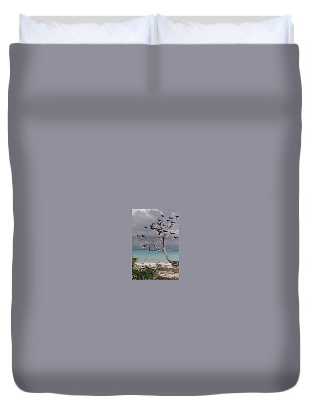 Charity Duvet Cover featuring the photograph Black Birds by Mary-Lee Sanders