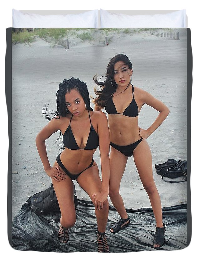 Ebony Duvet Cover featuring the photograph Black Bkinis 3 by Christopher White