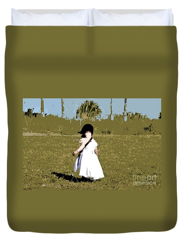 Child Duvet Cover featuring the painting Black Bonnet by David Lee Thompson
