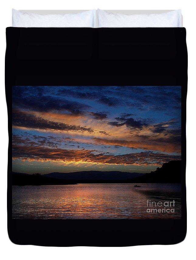 Black Butte Sunset Duvet Cover featuring the photograph Black Butte Sunset by Peter Piatt