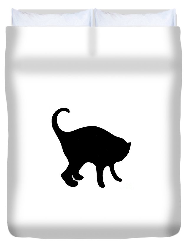 Cat Duvet Cover featuring the digital art Black Cat by Helena Tiainen
