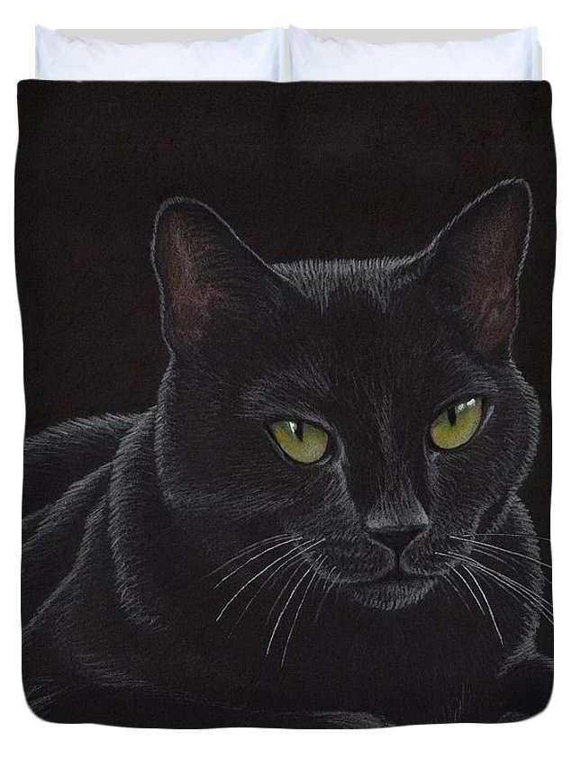 Cat Duvet Cover featuring the drawing Black Cat - I'm Watching You by Sherry Goeben