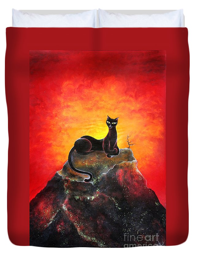 Mountain Duvet Cover featuring the painting Black Cat. Mistress Of Diamond Mountain by Sofia Metal Queen