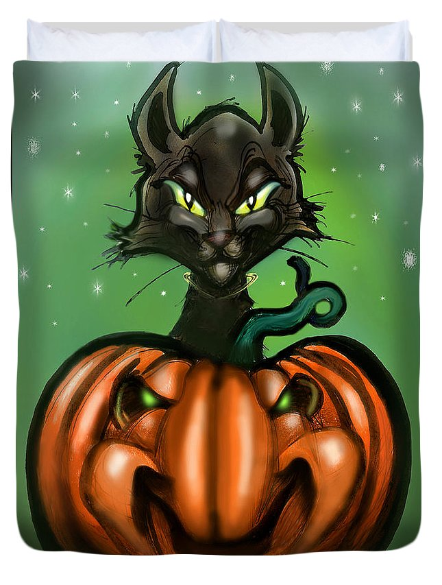 Halloween Duvet Cover featuring the greeting card Black Cat N Pumpkin by Kevin Middleton