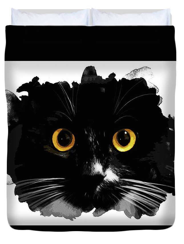 Black Duvet Cover featuring the painting Black Cat, Yellow Eyes by Andrea Mazzocchetti